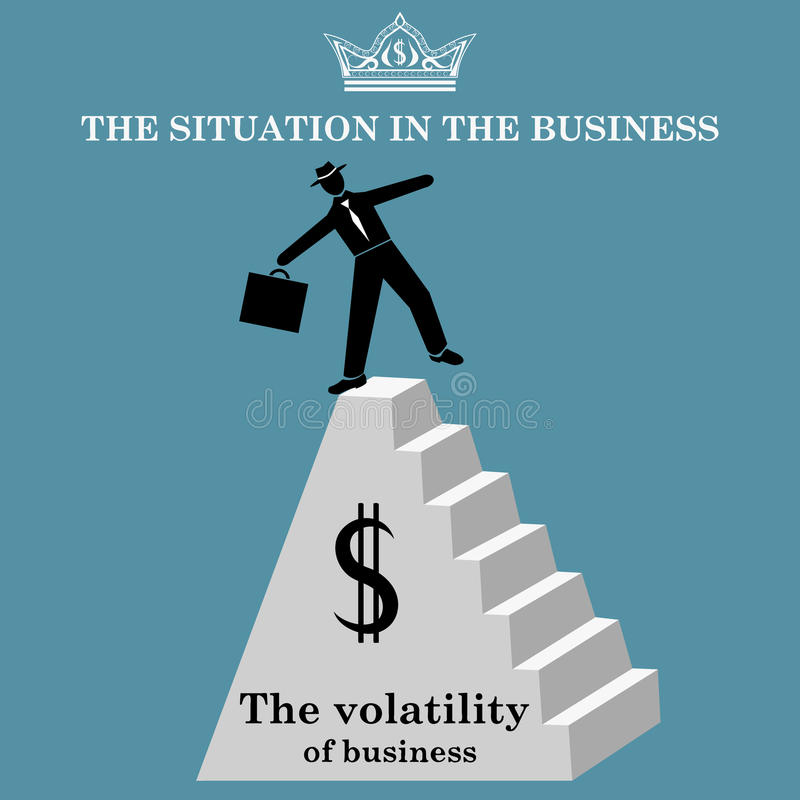Businessman at the top of the pyramid. A man is in a precarious position. The volatility of business. Vector illustration vector illustration