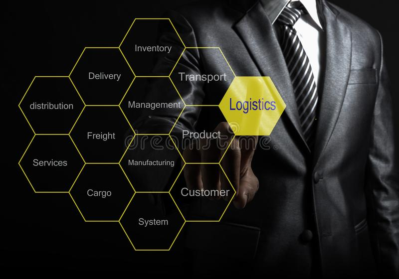 Businessman touch Logistic consultant presenting tag cloud royalty free stock photo