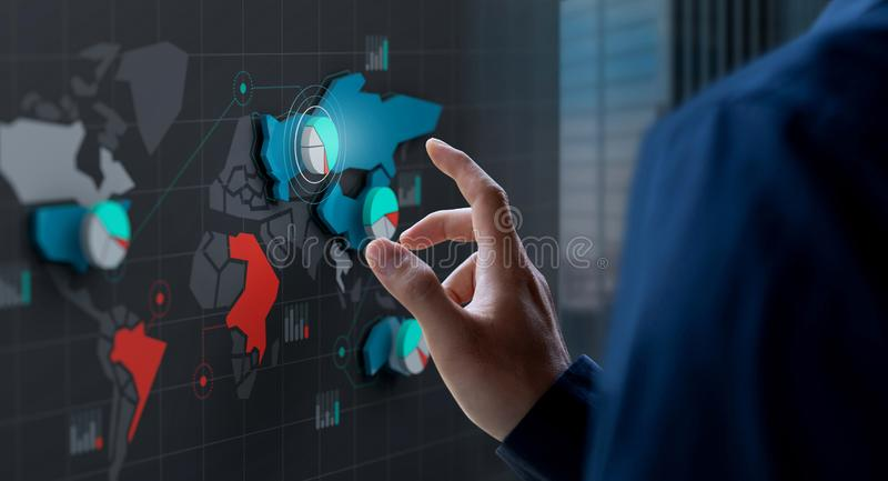 Businessman touch market share icon on world map screen. Businessman touch market share icon on 3d digital world map screen stock photo