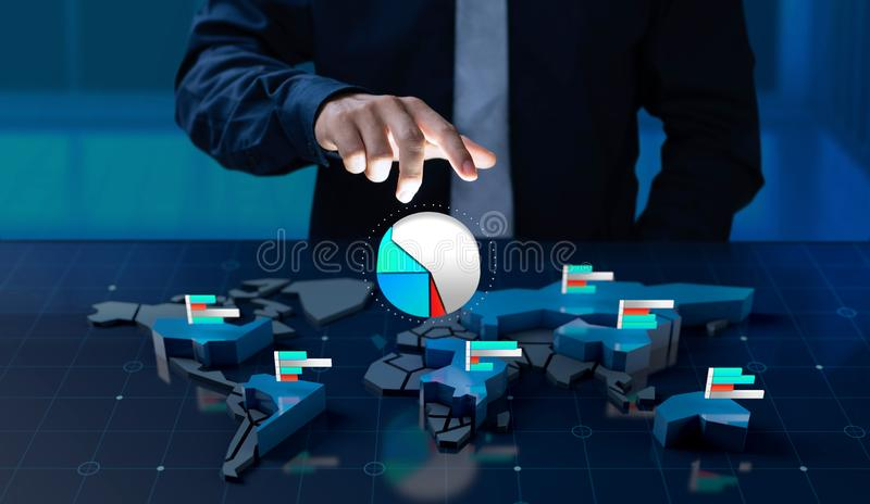 Businessman touch market share icon on world map screen. Businessman touch market share icon on 3d digital world map screen royalty free stock photo