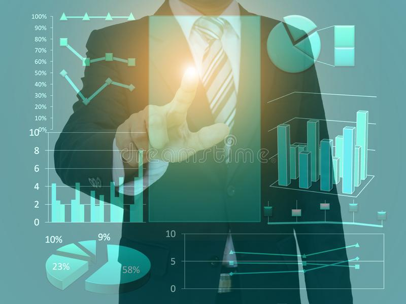 Businessman touch screen concept space graph and technology stock image