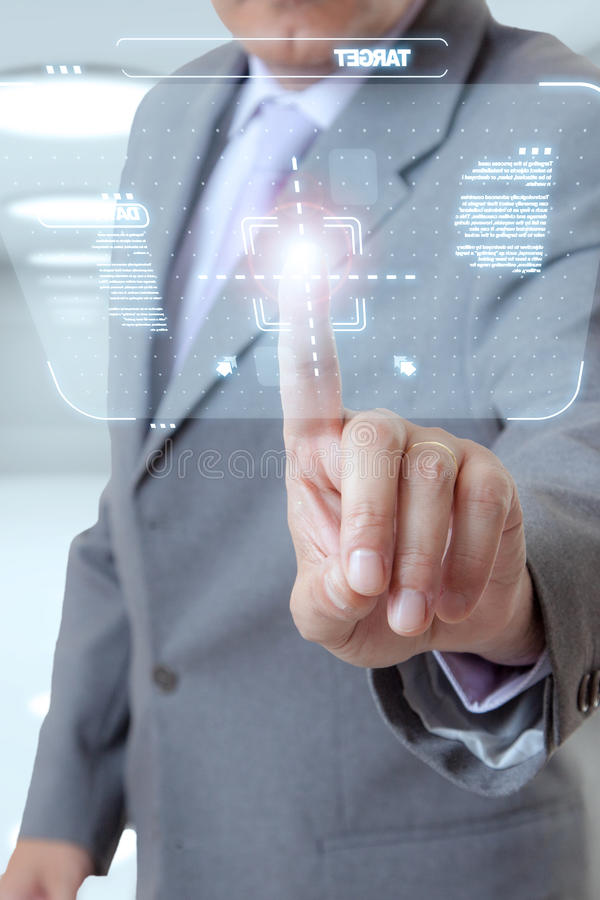 Businessman touch screen royalty free stock photography