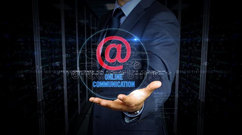 Businessman touch screen with at mail hologram stock photo