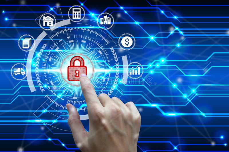Businessman touch virtual padlock icon over the Network connection, Cyber Security Data Protection Business Technology Privacy royalty free stock image