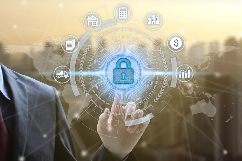 Businessman touch virtual padlock icon over the Network connection, Cyber Security Data Protection Business Technology Privacy stock photography