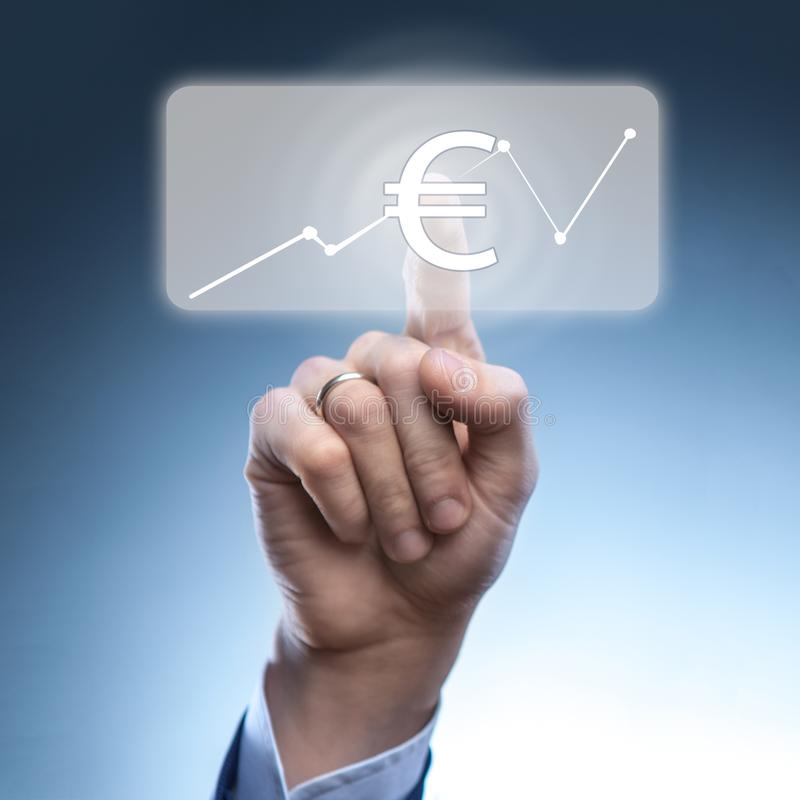 Businessman touched euro currency icon royalty free stock image