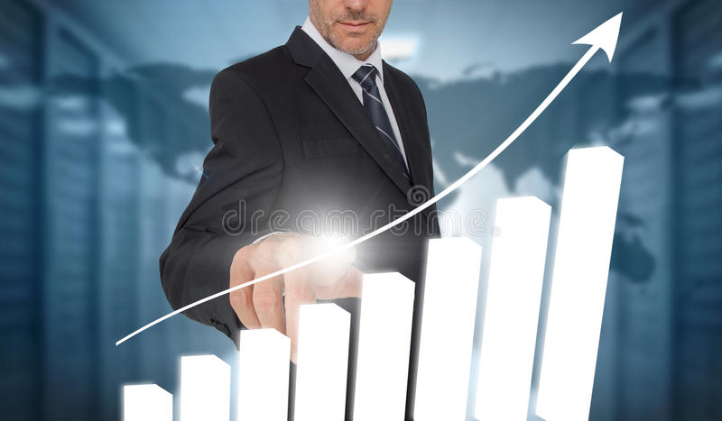 Businessman touching bar chart interface with world map on background vector illustration
