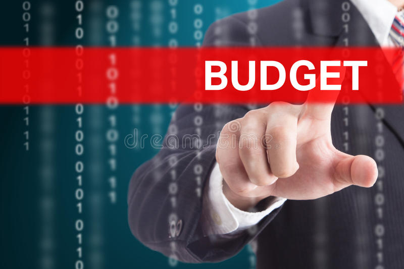 Businessman touching Budget royalty free stock photography