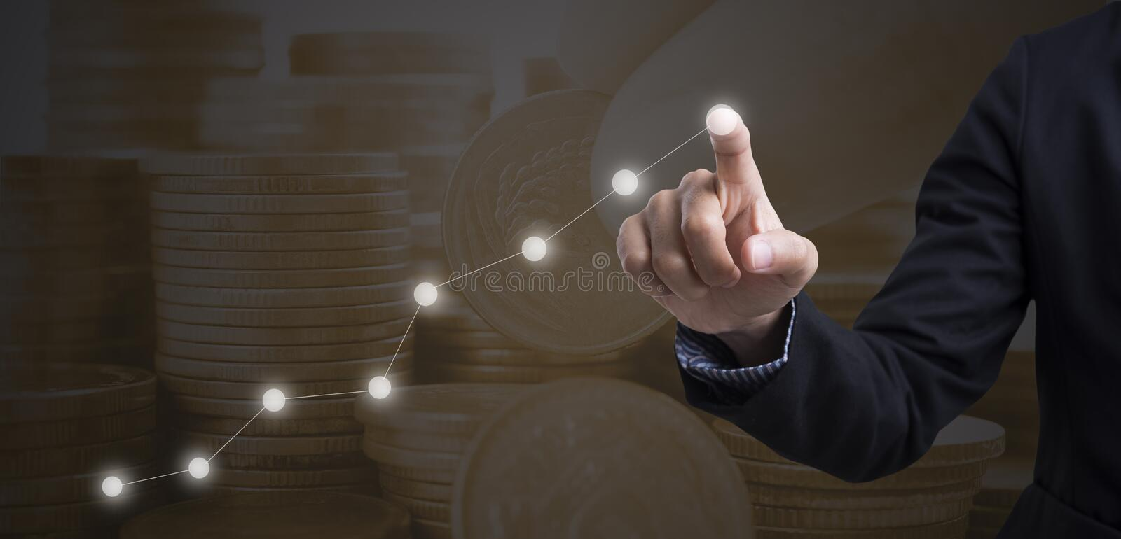 Businessman touching financial analysis graph. stock photos