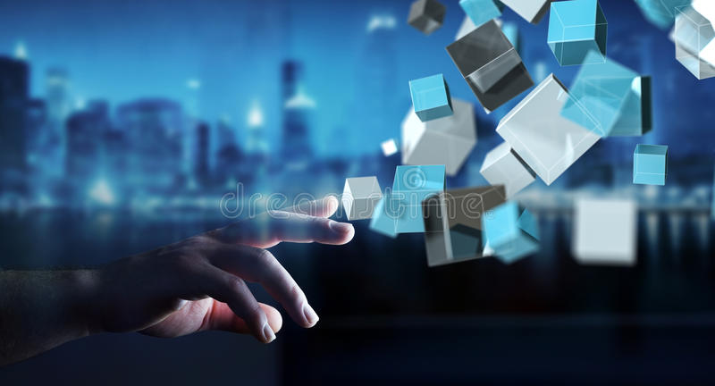 Businessman touching floating blue shiny cube network 3D rendering vector illustration