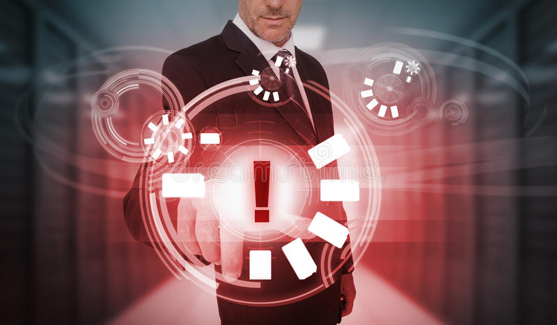 Businessman touching futuristic warning icon interface vector illustration