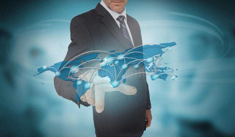 Businessman touching futuristic world map interface. On blurry office background royalty free illustration