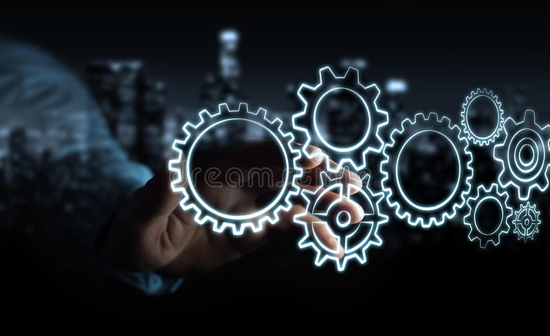Businessman touching hand-drawn gears icons stock illustration