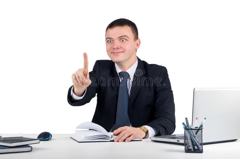 Businessman touching an imaginary screen. Isolated on white.Office, finances, internet, business, success concept stock photography