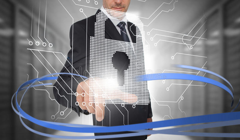 Businessman touching lock on futuristic interface with swirling lines. In data center vector illustration