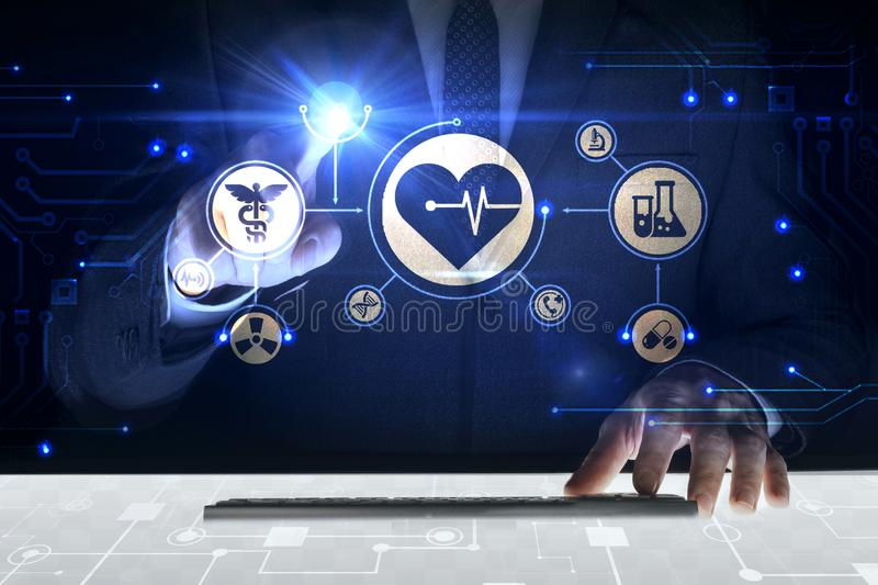 Businessman touching screen. With about Health system stock photos