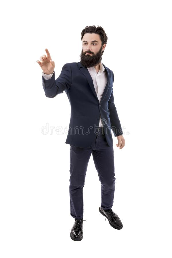 Businessman touching screen royalty free stock photography
