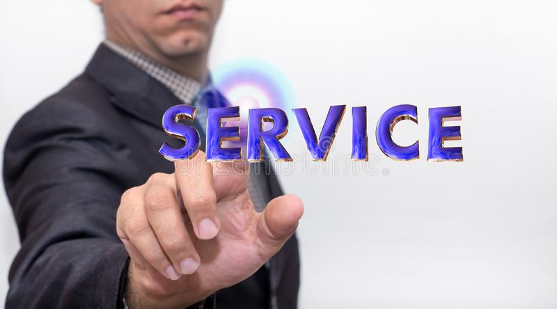 Touching service word on air royalty free stock image