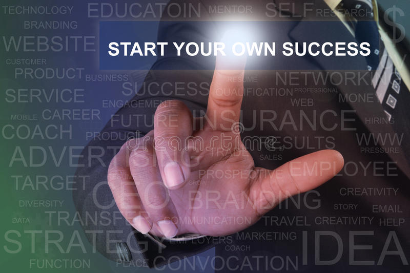 Businessman touching start your own success button on virtual sc stock photography