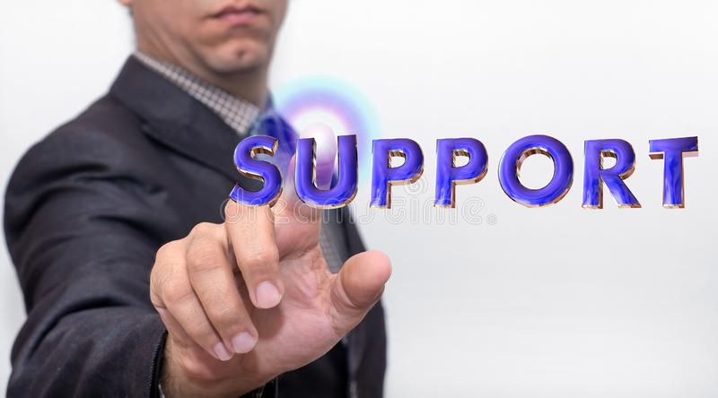 Touching support word on air stock image