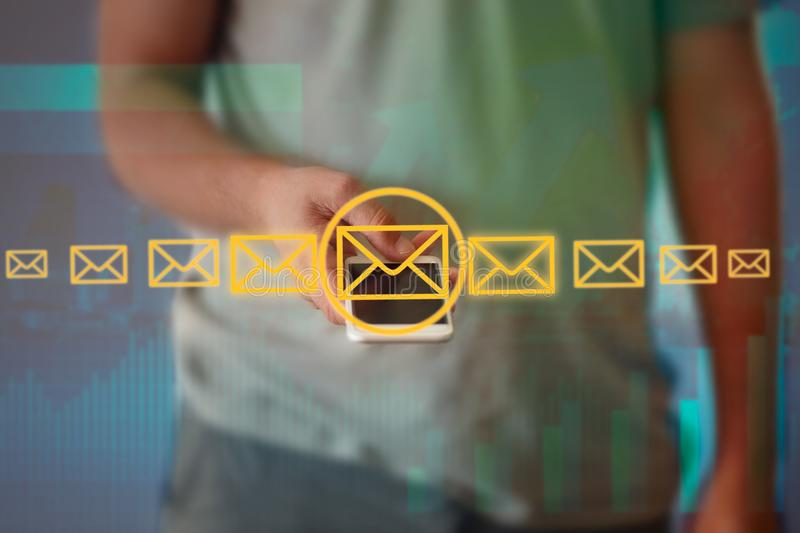 Businessman touching technology interface with professional email icon. royalty free stock photo