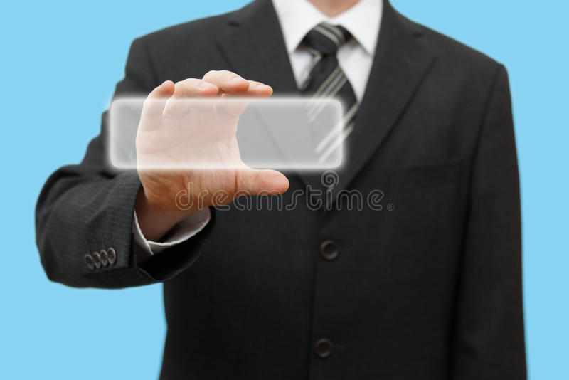 Businessman touching virtual box or contact card. stock image