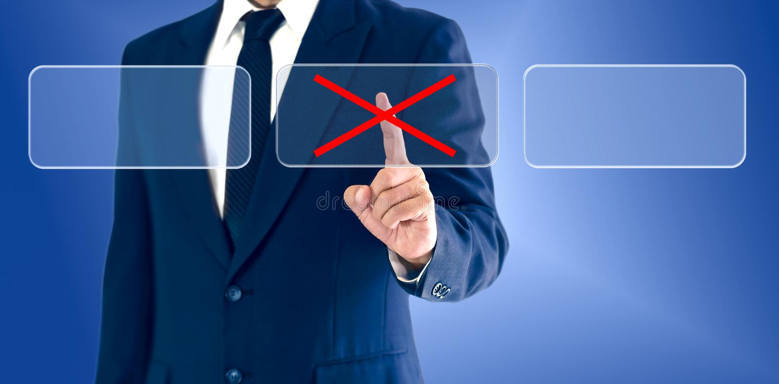 Businessman touching virtual buttons wrong marks. The concept of a business decision may be right or wrong stock images