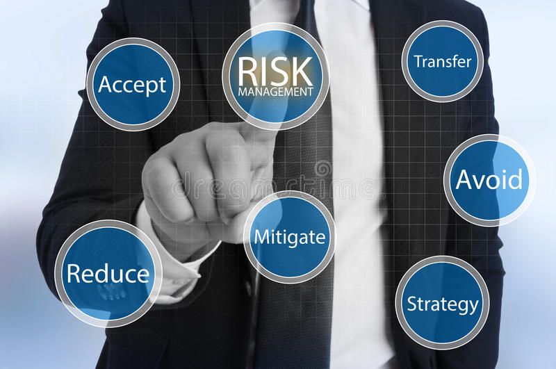 Businessman touching virtual risk management stock images
