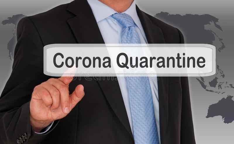 Businessman with touchscreen, corona quarantine royalty free stock images