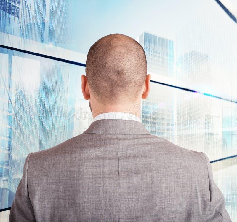 Businessman toward his future. Ambitious and successful businessman toward his future royalty free stock photos