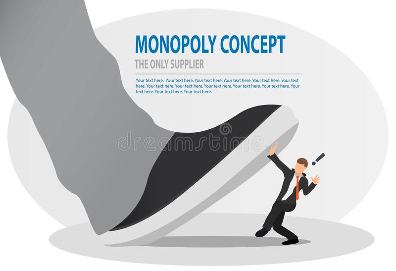 Businessman is trampled by a big foot. Big boss trying to stomping step on his small worker. Monopoly, bad leadership, conflict. vector illustration