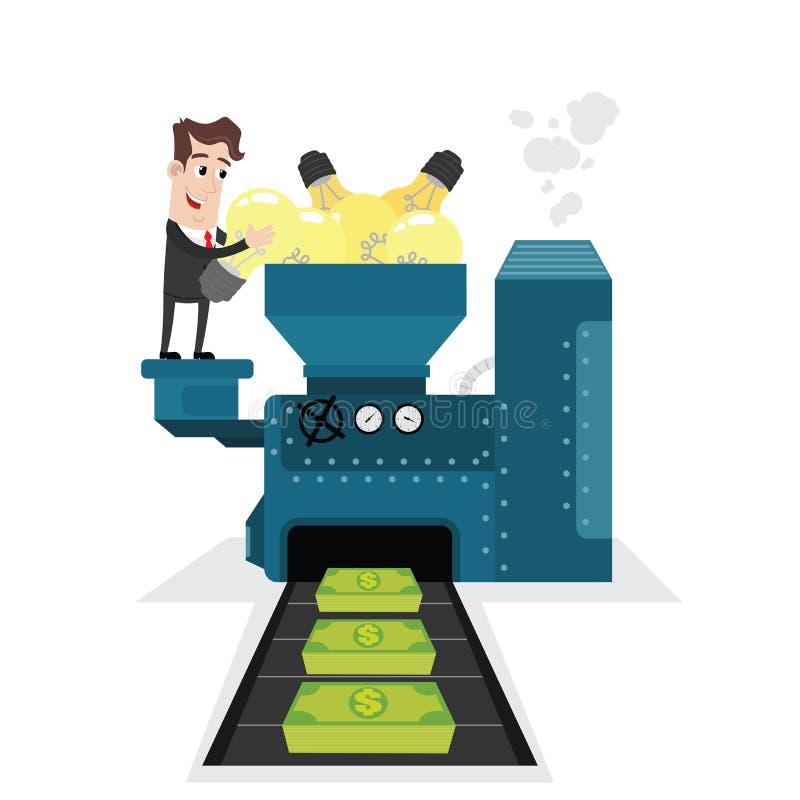 Businessman transforming ideas into money vector illustration