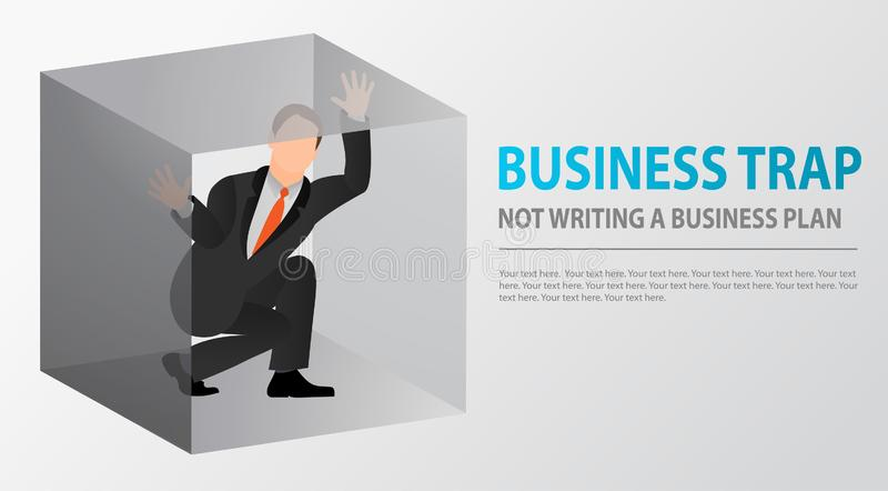 Flat businessman trapped inside uncomfortable small box. Claustrophobia. Fear of closed spaces. Business problems and failure at w vector illustration