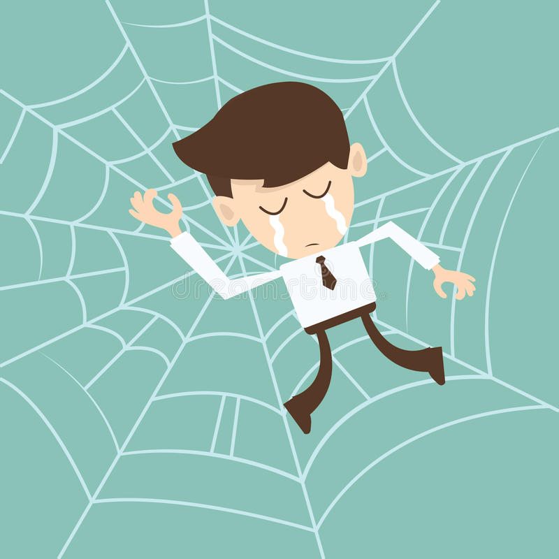 Businessman trapped in spider web royalty free illustration