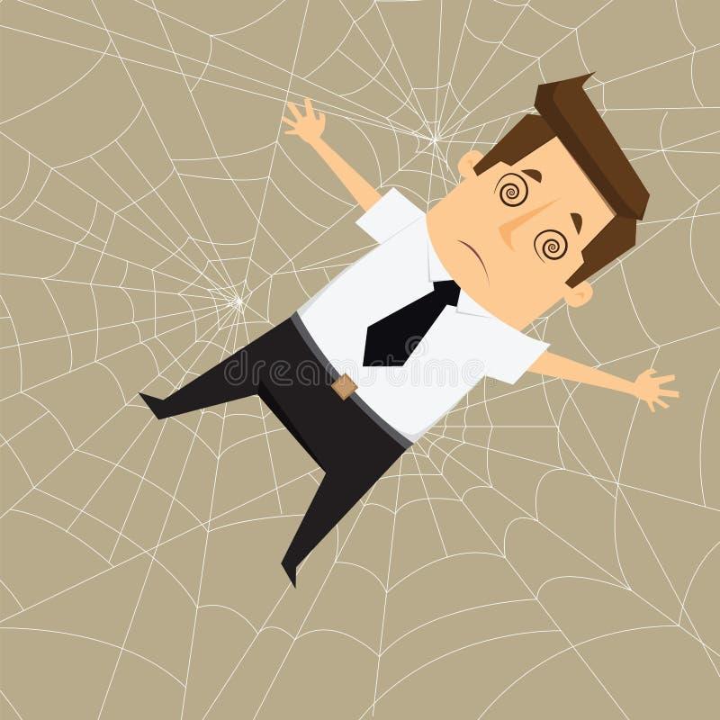 Businessman Trapped in spider webs. Businessman Trapped in webs vector.eps10.illustration vector illustration