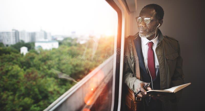 Businessman Travel Passenger African Descent Concept.  stock photo