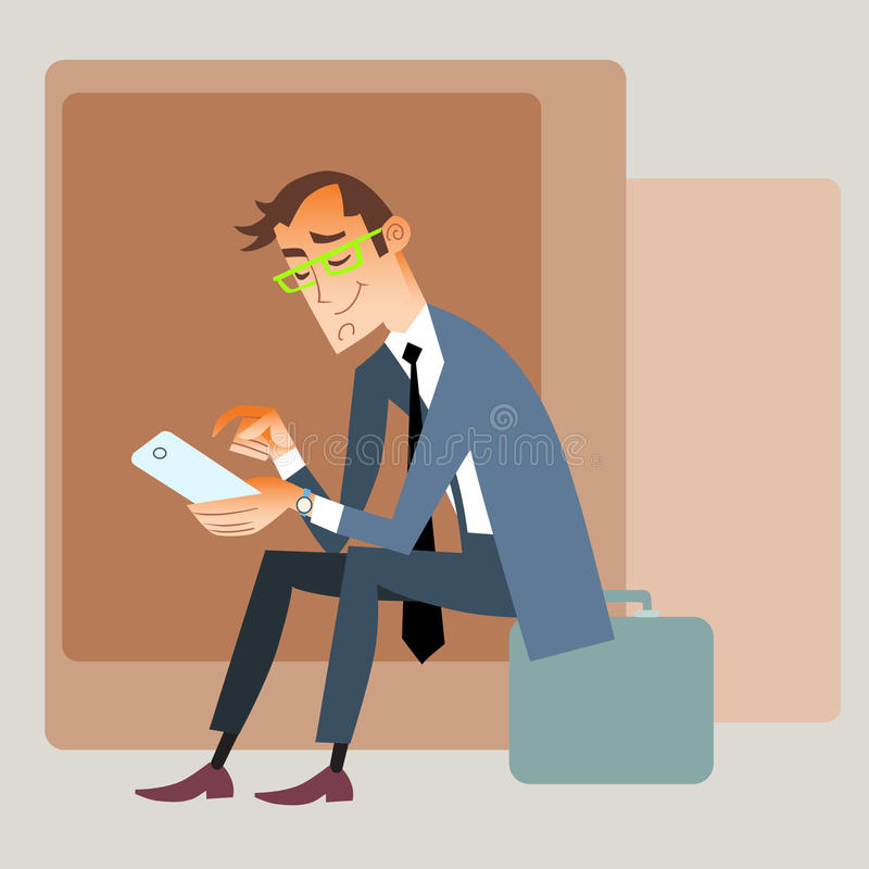 Businessman traveler sits on the bag and reads stock photos