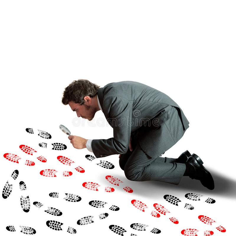 Businessman tries the footsteps stock images