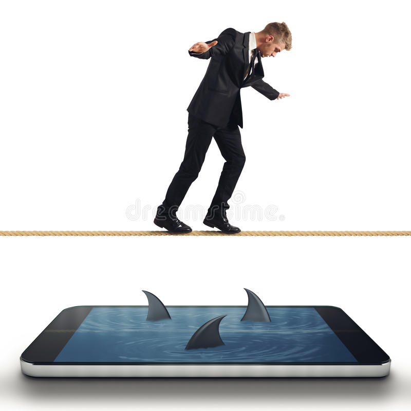 Businessman in trouble with his smartphone royalty free stock photo