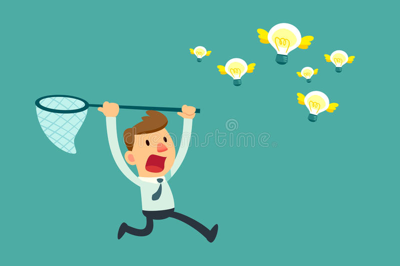 Businessman try to catch flying idea bulbs. Illustration of businessman try to catch flying idea bulb with a net stock illustration