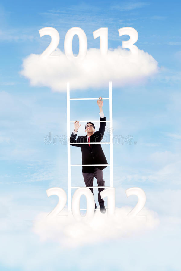 Download Businessman Try To Gain His Success On 2013 Stock Image - Image of executive, climb: 27251381