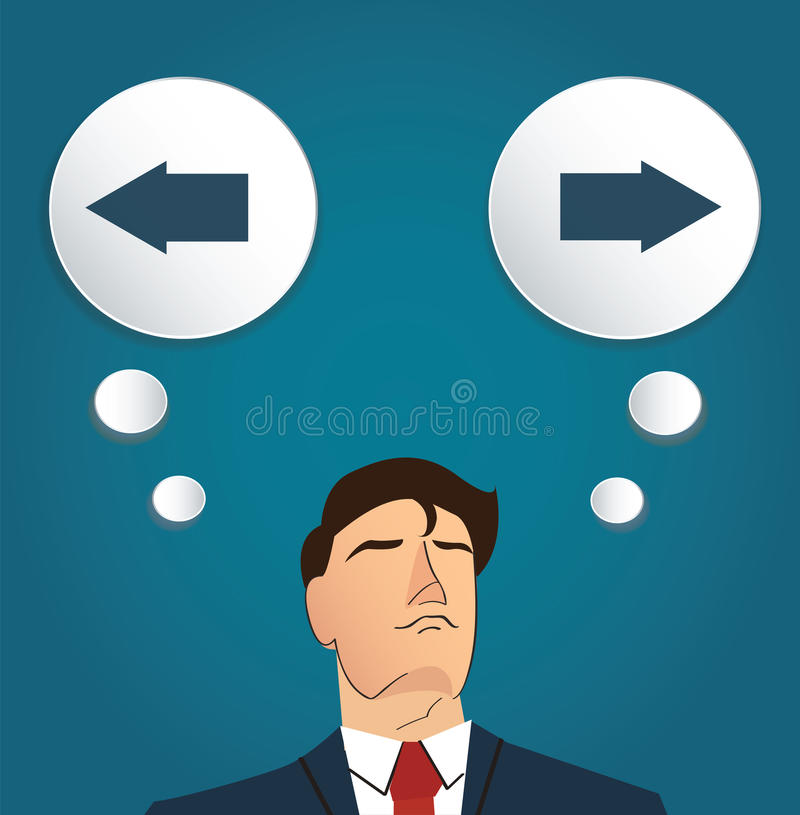 Businessman try to make decision , Left or Right vector royalty free illustration
