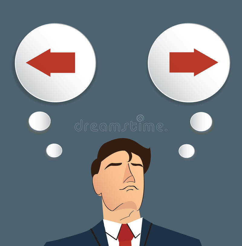 Businessman try to make decision , Left or Right vector stock illustration