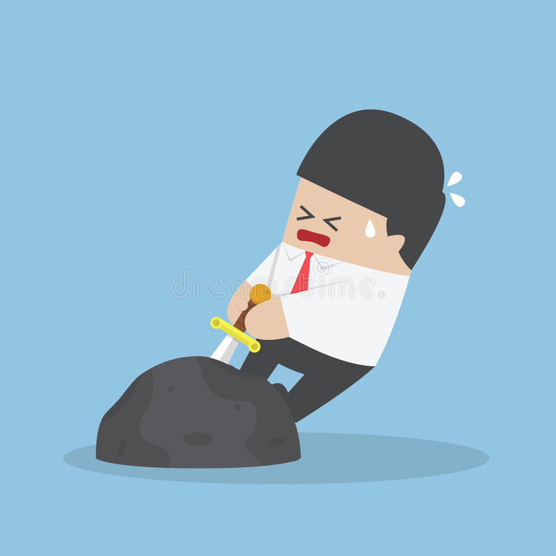 Businessman try to pull sword from stone royalty free illustration