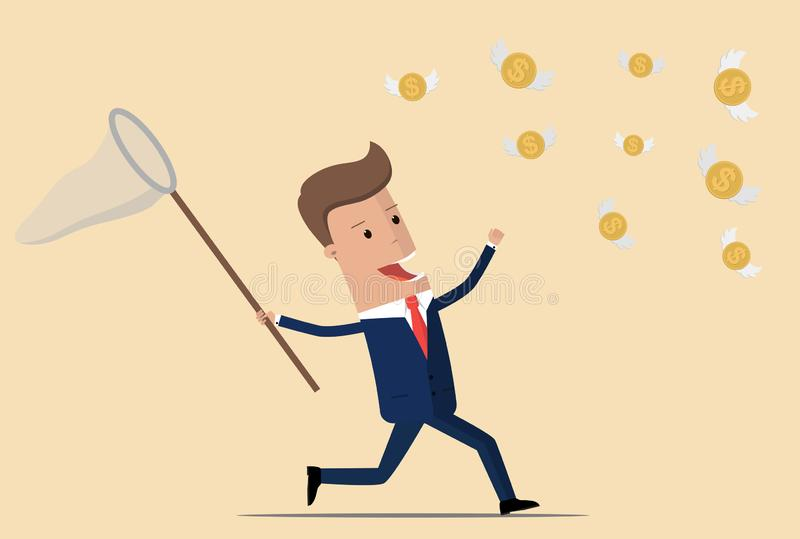 Businessman trying to catch flying coins. Vector illustration.  vector illustration