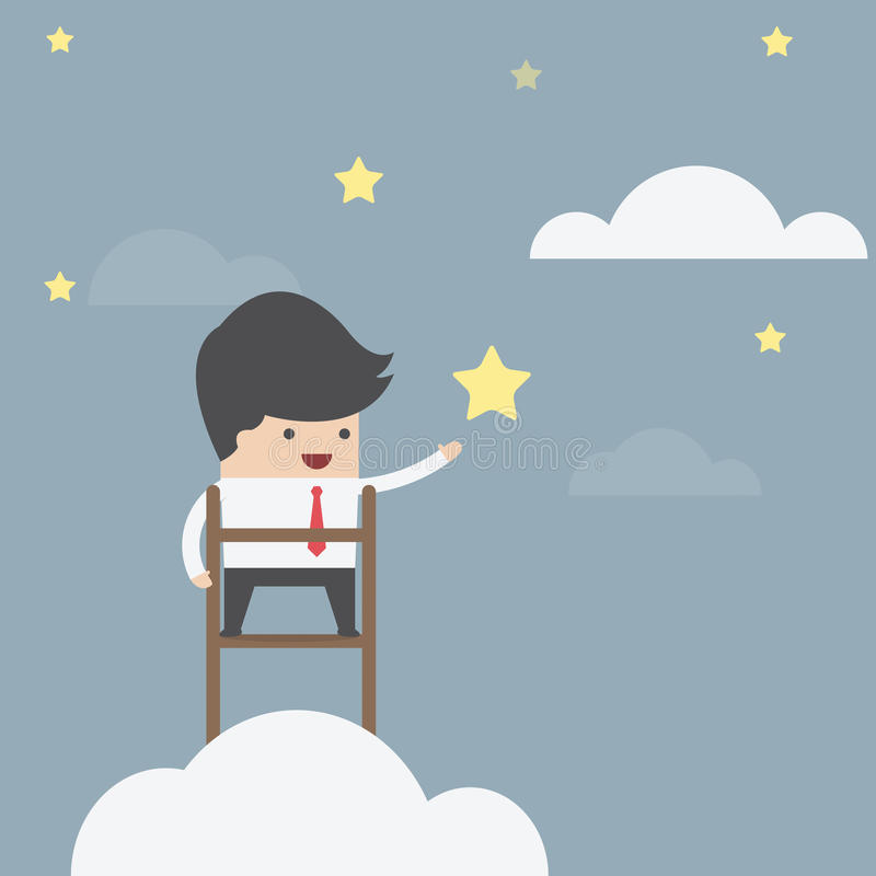 Businessman trying to catch the star stock illustration