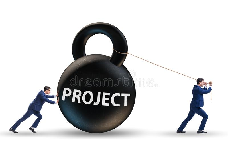 Businessman trying to deliver difficult project stock photography
