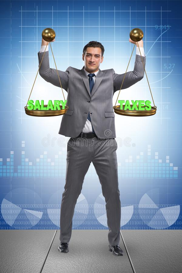 Businessman trying to find balance between taxes and salary. Businessman trying to find balance in taxes and salary stock photography