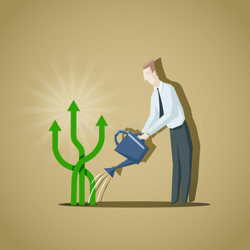 Businessman trying to grow up a business indicators. Raise of bu vector illustration