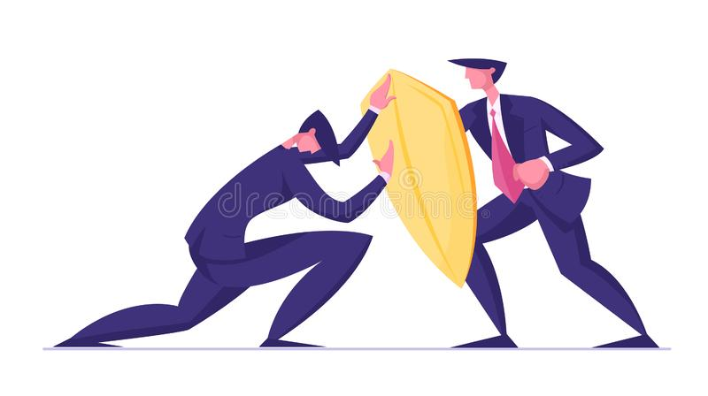 Businessman Trying to Overcome Resistance Attacking Man with Golden Shield. Business Protection, Onslaught and. Confrontation Concept. Overcoming of Crisis royalty free illustration